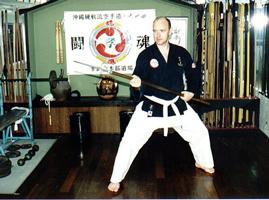 Sensei Bateman in Okinawa with Nunti Bo